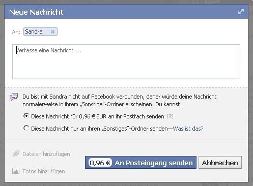 Nachrichten-Fenster bei Facebook